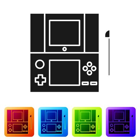 Black Portable video game console icon isolated on white background. Gamepad sign. Gaming concept. Set icons in color square buttons. Vector Illustration