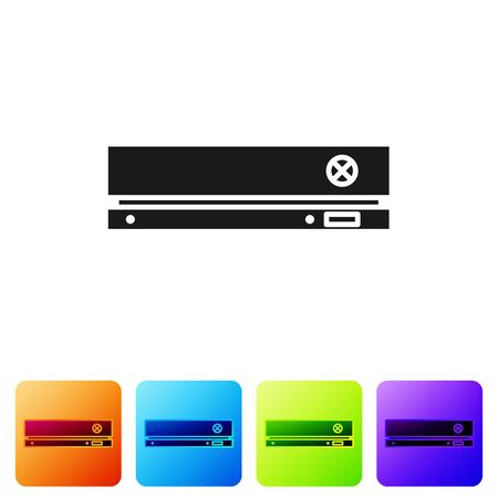 Black Video game console icon isolated on white background. Set icons in color square buttons. Vector Illustration Ilustração