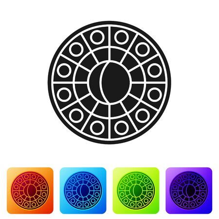 Black Astrology horoscope circle with zodiac icon isolated on white background. Set icons in color square buttons. Vector Illustration
