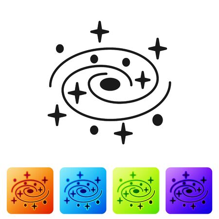 Black Milky way spiral galaxy with stars icon isolated on white background. Set icons in color square buttons. Vector Illustration Ilustracja