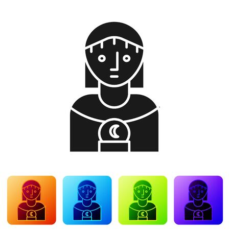 Black Astrology woman icon isolated on white background. Set icons in color square buttons. Vector Illustration