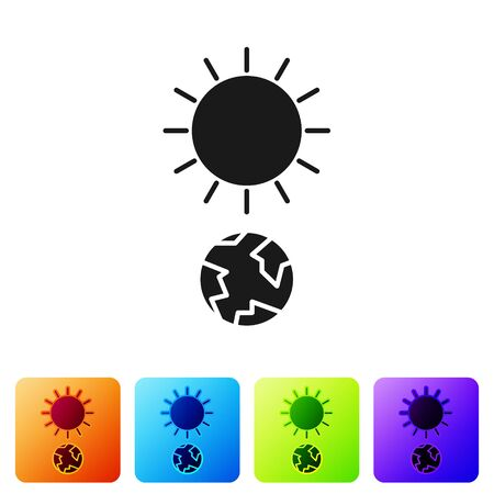 Black Solstice icon isolated on white background. Set icons in color square buttons. Vector Illustration