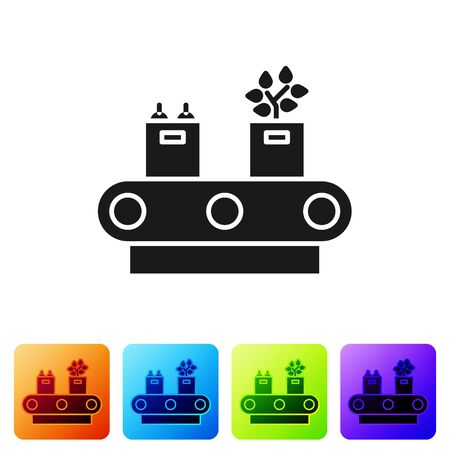Black Conveyor belt with cardboard box icon isolated on white background. Set icons in color square buttons. Vector Illustration