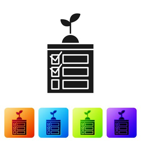 Black Smart farming technology - timer farm automation system in app icon isolated on white background. Set icons in color square buttons. Vector Illustration