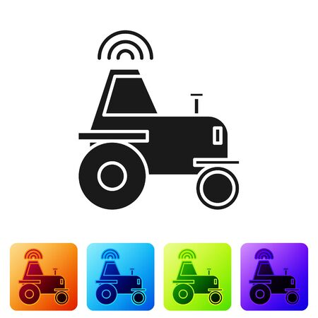 Black Self driving wireless tractor on a smart farm icon isolated on white background. Smart agriculture implement element. Set icons in color square buttons. Vector Illustration