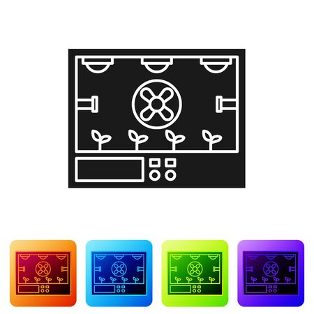 Black Smart farming technology - farm automation system icon isolated on white background. Set icons in color square buttons. Vector Illustration Ilustração