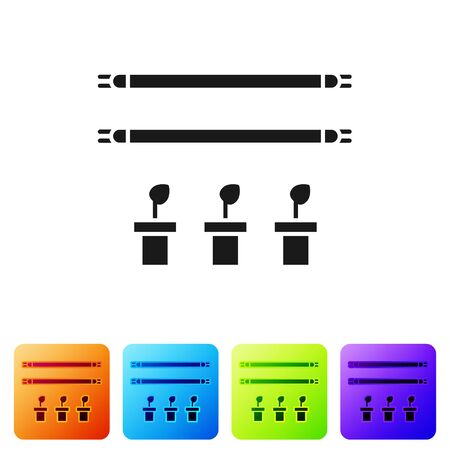 Black Smart farm with light bulb and plant symbol icon isolated on white background. Set icons in color square buttons. Vector Illustration