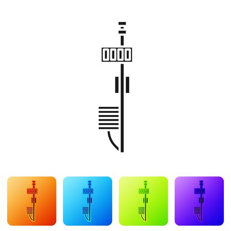 Black Standalone sensor icon isolated on white background. Set icons in color square buttons. Vector Illustration