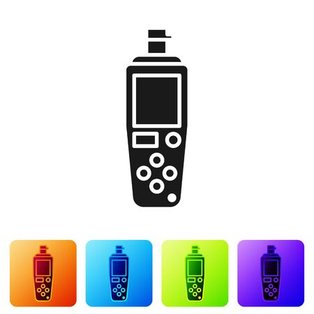 Black Portable sensor icon isolated on white background. Set icons in color square buttons. Vector Illustration