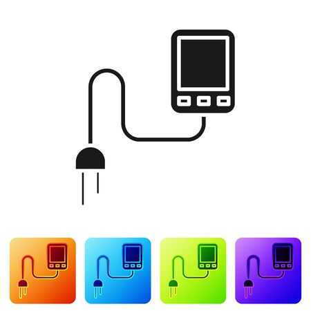 Black Sensor icon isolated on white background. Set icons in color square buttons. Vector Illustration