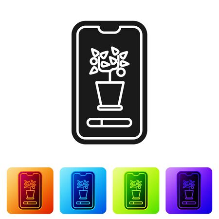 Black Smart control farming system mobile application icon isolated on white background. Set icons in color square buttons. Vector Illustration