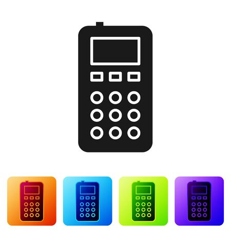 Black Remote control icon isolated on white background. Set icons in color square buttons. Vector Illustration Ilustração