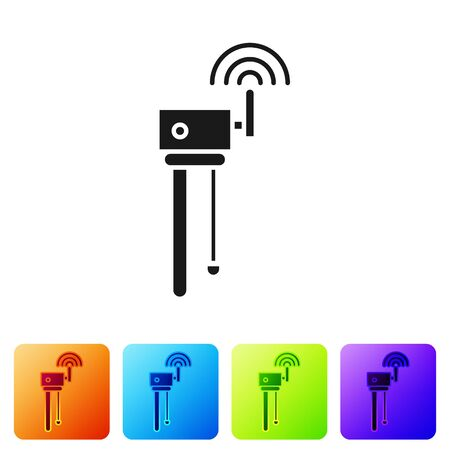 Black Router and wifi signal symbol icon isolated on white background.