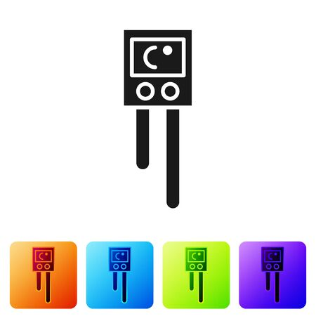 Black Temperature and humidity sensor icon isolated on white background. Set icons in color square buttons. Vector Illustration