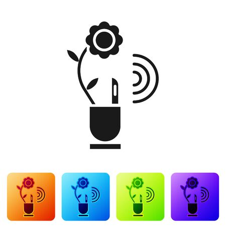 Black Smart farming technology - farm automation system in app icon isolated on white background. Set icons in color square buttons. Vector Illustration
