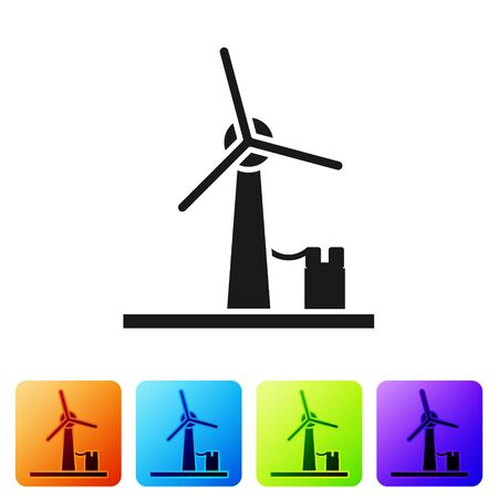 Black Wind turbine icon isolated on white background. Wind generator sign. Windmill for electric power production. Set icons in color square buttons. Vector Illustration Çizim