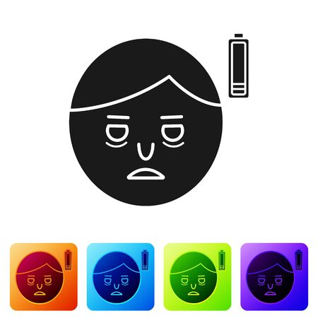 Black Fatigue icon isolated on white background. No energy. Stress symptom. Negative space. Set icons in color square buttons. Vector Illustration Ilustrace