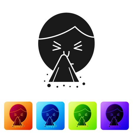 Black Man holding handkerchief or napkin to his runny nose icon isolated on white background. Coryza desease symptoms. Set icons in color square buttons. Vector Illustration