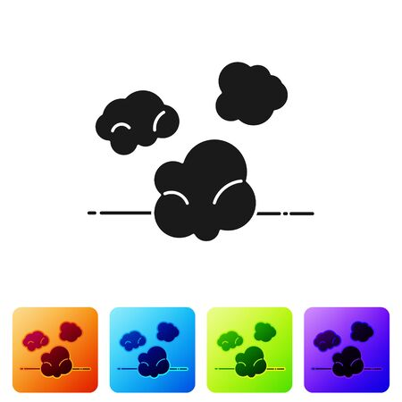 Black Dust icon isolated on white background. Set icons in color square buttons. Vector Illustration