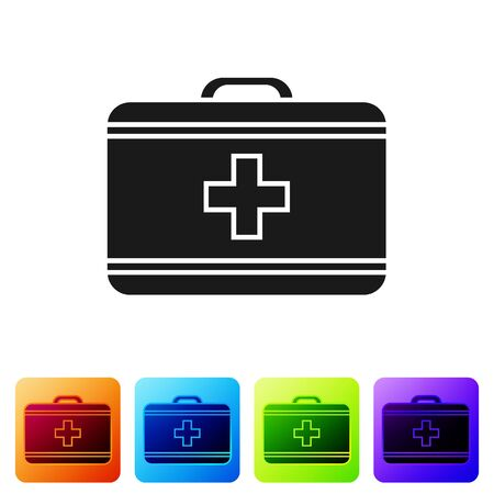 Black First aid kit icon isolated on white background. Medical box with cross. Medical equipment for emergency. Healthcare concept. Set icons in color square buttons. Vector Illustration