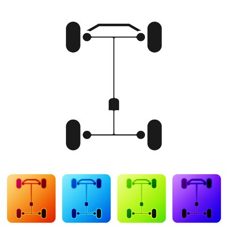 Black Chassis car icon isolated on white background. Set icons in color square buttons. Vector Illustration
