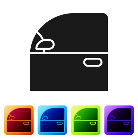Black Car door icon isolated on white background. Set icons in color square buttons. Vector Illustration
