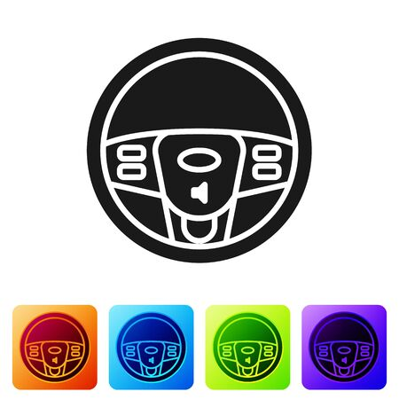 Black Steering wheel icon isolated on white background. Car wheel icon. Set icons in color square buttons. Vector Illustration Illustration