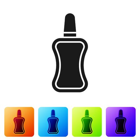 Black Nail polish bottle icon isolated on white background. Set icons in color square buttons. Vector Illustration