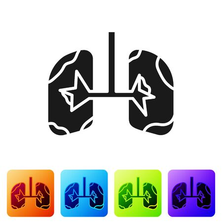 Black Lungs icon isolated on white background. Set icons in color square buttons. Vector Illustration