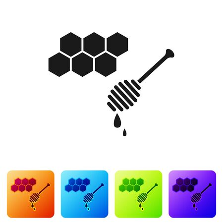 Black Honeycomb with honey dipper stickicon isolated on white background. Honey ladle. Honey cells symbol. Sweet natural food. Set icons in color square buttons. Vector Illustration