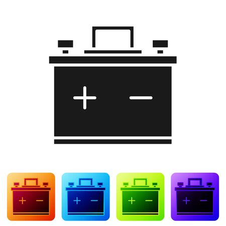 Black Car battery icon isolated on white background. Accumulator battery energy power and electricity accumulator battery. Set icons in color square buttons. Vector Illustration