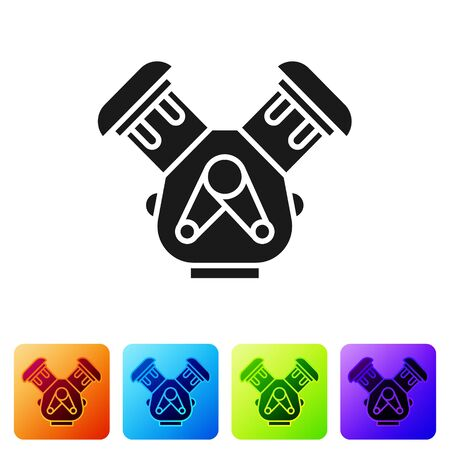 Black Car engine icon isolated on white background. Set icons in color square buttons. Vector Illustration
