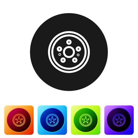 Black Car brake disk icon isolated on white background. Set icons in color square buttons. Vector Illustration Vectores