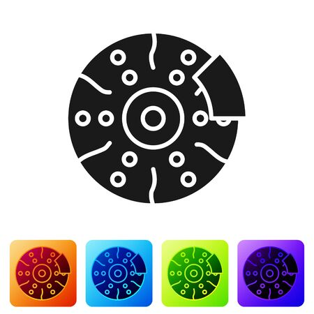 Black Car brake disk with caliper icon isolated on white background. Set icons in color square buttons. Vector Illustration Vectores