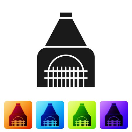 Black Interior fireplace icon isolated on white background. Set icons in color square buttons. Vector Illustration Banque d'images - 138094957
