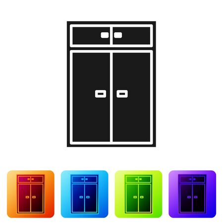 Black Wardrobe icon isolated on white background. Set icons in color square buttons. Vector Illustration