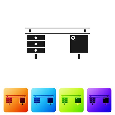 Black Office desk icon isolated on white background. Set icons in color square buttons. Vector Illustration