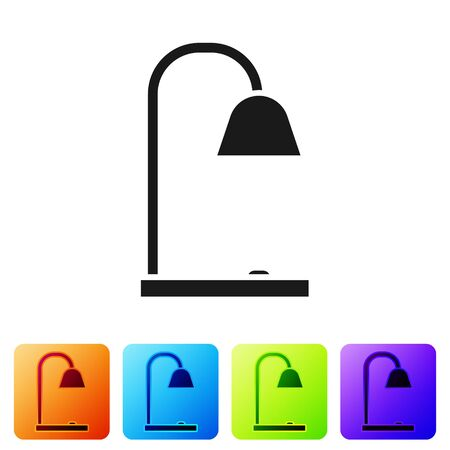 Black Table lamp icon isolated on white background. Set icons in color square buttons. Vector Illustration