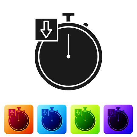 Black Stopwatch icon isolated on white background. Time timer sign. Chronometer. Set icons in color square buttons. Vector Illustration