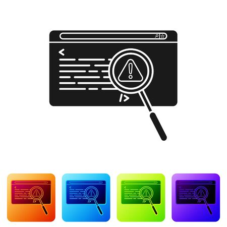 Black System bug concept icon isolated on white background. Code bug concept. Bug in the system. Bug searching. Set icons in color square buttons. Vector Illustration