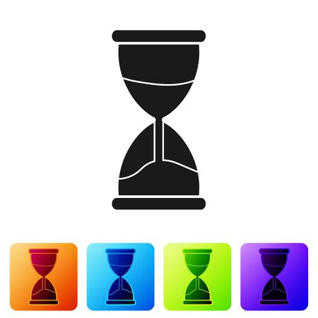Black Old hourglass with flowing sand icon isolated on white background. Sand clock sign. Business and time management concept. Set icons in color square buttons. Vector Illustration 向量圖像