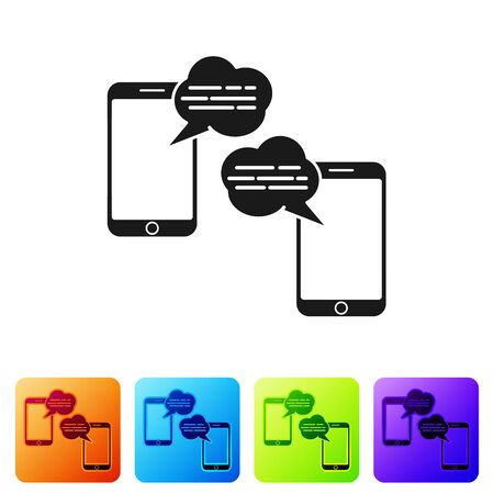 Black New chat messages notification on phone icon isolated on white background. Smartphone chatting sms messages speech bubbles. Set icons in color square buttons. Vector Illustration