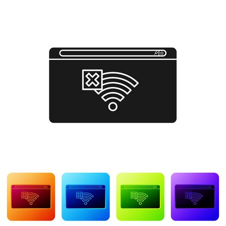 Black No Internet connection icon isolated on white background. No wireless wifi or sign for remote internet access. Set icons in color square buttons. Vector Illustration