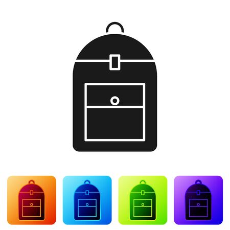 Black Backpack icon isolated on white background. Set icons in color square buttons. Vector Illustration 일러스트