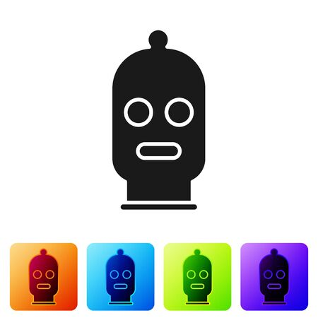 Black Balaclava icon isolated on white background. A piece of clothing for winter sports or a mask for a criminal or a thief. Set icons in color square buttons. Vector Illustration