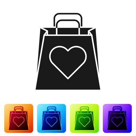 Black Shopping bag with heart icon isolated on white background. Shopping bag shop love like heart icon. Valentines day symbol. Set icons in color square buttons. Vector Illustration Ilustração