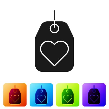 Black Heart tag icon isolated on white background. Love symbol. Valentine day symbol. Set icons in color square buttons. Vector Illustration Illusztráció