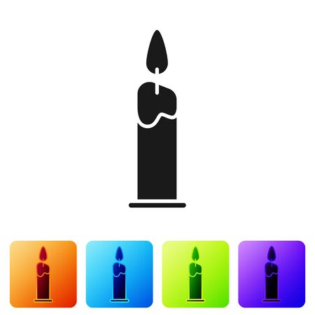 Black Burning candle in candlestick icon isolated on white background. Cylindrical candle stick with burning flame. Set icons in color square buttons. Vector Illustration Иллюстрация