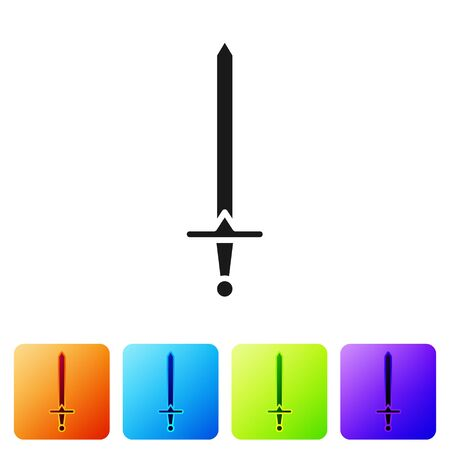 Black Medieval sword icon isolated on white background. Medieval weapon. Set icons in color square buttons. Vector Illustration  イラスト・ベクター素材