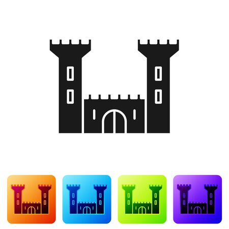 Black Castle icon isolated on white background. Fortress sign. Set icons in color square buttons. Vector Illustration